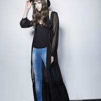 vintage style sheer sleeves long lace flowing gothic coat