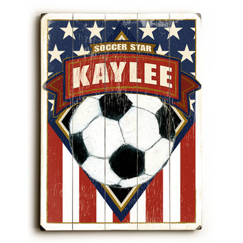 Personalized Kids Soccer Flag Wood Sign