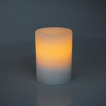 Flameless Frosted Candle LED Light, Ivory, 3-Inch x 2-Inch