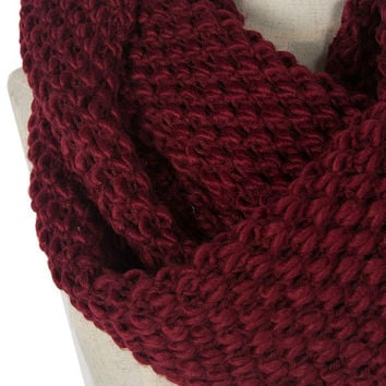 Wine Red Chunky Hand Knitted Snood