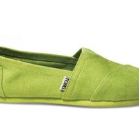 Toms Shoes Classic Slip-on (Earthwise Lime) Shoes Womens Shoes at 7TWENTY Boardshop, Inc