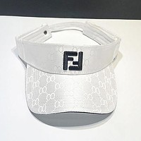 FENDI Summer Popular Fashion Women Men Double F Letter  Sports Sun Hat Baseball Cap Hat White