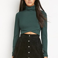 Wrap Turtleneck Crop Top