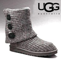 UGG Autumn Winter Classic Popular Women Keep Warm Knit Button Shoes Boots Grey