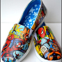 Made to Order Shoes, Spiderman Shoes, Custom Spiderman Shoes, Comic Book Shoes, Spiderman Shoes, Marvel Comic Shoes, Xmas Gifts for Men