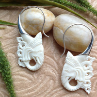 "Tribal Earrings, ""Exotic Ganesh"" Naturally Organic, Bone, Sterling Silver Posts, Hand Carved"