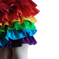 Rainbow skirt ruffles kids toddler party colorful by SweetSapling
