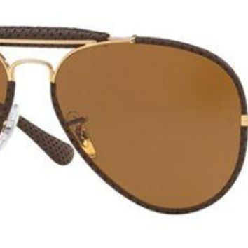 RAY BAN 3422Q 58 9041 LEATHER INSERTS ROSE GOLD DARK BROWN LEATHER GOLD BROWN
