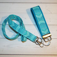Mermaid Lanyard and Key fob Keychain Set - Mermaid dots - teacher gift, coworker gift, gift for her, under 20