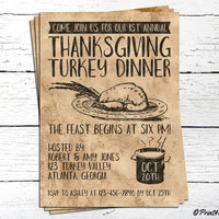 Thanksgiving Invite // Personalized Printable Rustic Thanksgiving Turkey Dinner Invitation // Turkey Dinner Invite //  Thanksgiving