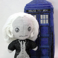 The First Doctor in Black and White 3D Cross Stitch Doll and Sewing Pattern PDF