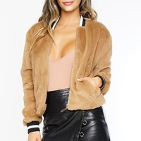 Make It Count Fur Bomber - Brown