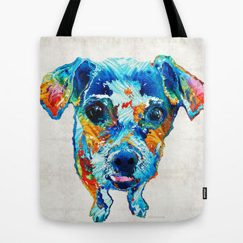 Colorful Little Dog Pop Art by Sharon Cummings Tote Bag by Sharon Cummings