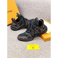 LV Louis Vuitton Men and Women's Leather Sneakers Shoes BLACK