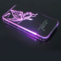 waloli shopping mall — LED Butterfly Shining  When Phone Call Nice Hard Cover Case ForIphone 4/4s/5