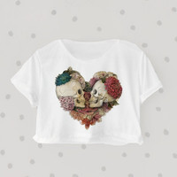 Love you until we die printed Midriff Cropped Blouse. Street-Style Fashion - teenage - crop - Teen Girl - Casual wear