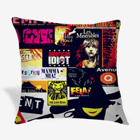 Broadway Musical Collage Pillow Case