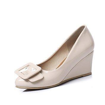 Shallow Mouth Buckle Women Wedges Shoes