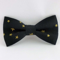 Black bow tie mens - pre tied adjustable or clip on bowtie cotton with gold stars - bow ties for men