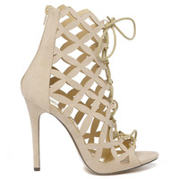BRIELLE LATTICE BOOTIE - NUDE
