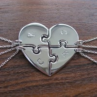 Four Piece Heart Best Friend Pendant Necklaces