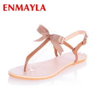 ENMAYLA New Women's Sandals Woman's Flats Shoes Platform Sandals Summer Gladiator Ankle Straps Sexy Bohemia Flat shoes