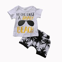 Summer Toddler born Baby Boy 2Pcs Outfit T-shirt Tops+Coconut trees Shorts Clothes Set 0-3T