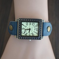 MagicPiece Handmade Vintage Style Leather Watch For Women Square Shape Dial Watch with Leather Belt in 4 Colors: Blue