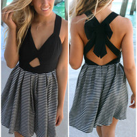 Shipmate Black & White Stripe Bow Back Swing Dress