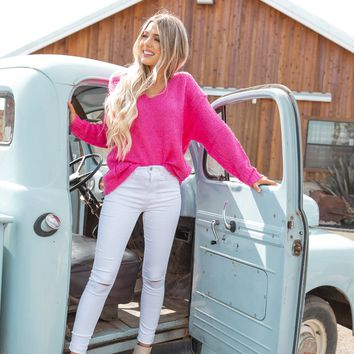 Pretty In Pink V Neck Sweater