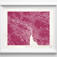 Zurich, Switzerland, Print, Map, Poster, State, City, Street Map, Decor, Town, Illustration, Room, Wall Art, Customize, Dorm, Living Room