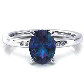 Maise Oval Alexandrite 4 Prong Diamond Accent Engagement Ring