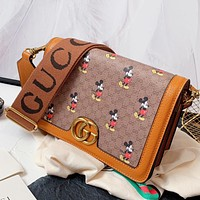 GUCCI Fashion Lady Printed Cartoon Alphabet Shopping Shoulder Bag Crossbody Bag