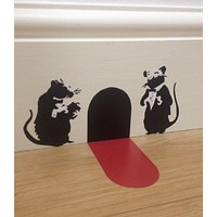 Banksy Waiter Rats Wall Art Sticker with Red Carpet Christmas Stocking Fille Wall Stickers