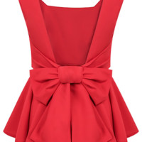 Ruffled Bow Peplum Top - Red