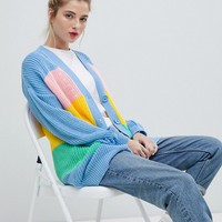 Daisy Street Relaxed Chunky Knit Cardigan In Stripe at asos.com