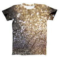 The Gold and Black Unfocused Glimmering RainFall ink-Fuzed Unisex All Over Full-Printed Fitted Tee Shirt