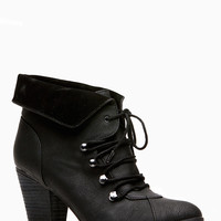Dollhouse Black Collar Lace Up Ankle Booties