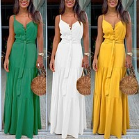 Womens Spaghetti Strap Summer Boho Maxi Long Dress Party Beach Dresses V Neck Split Sundress Floral Halter Dress 2019 New#J30