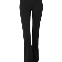 LE3NO Womens Lightweight Active Basic Fold Over Flared Full Length Lounge Pants (CLEARANCE)