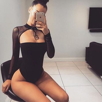 Women Fashion Exposed Chest Tight Tops Perspective Gauze Stitching Long Sleeve Show Thin Bodysuit Jumpsuit