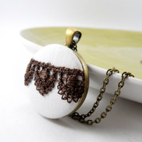 Brown and White Lace Fabric  Necklace, Victorian Jewelry, Brass Pendant  Wedding, Bridesmaids, Pretty Fashion Statement