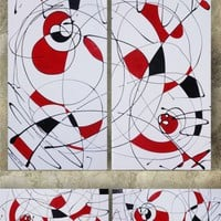 View: White Black Red Vertical long painting decor original abstract art Large paintings 100x100x2 cm stretched canvas acrylic art gloss wall art by artist Ksavera | Artfinder
