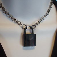 Gunmetal Gray chain with Black Working Padlock Necklace submissive day Collar locking Choker, varying length/chains
