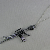 M16 Rifle Gun Necklace on 925 Sterling Silver chain, M16 Rifle Gun Pendant Necklace, M16 Rifle