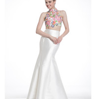 Preorder -  Ivory & Floral High Neck Two Piece Gown 2015 Prom Dresses