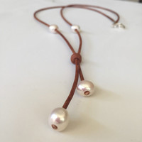 Leather freshwater pearl necklace, freshwater pearl necklace, leather and pearls, pearls on leather