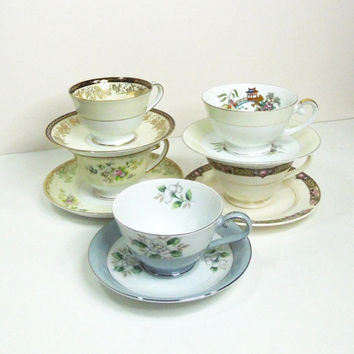 Vintage tea cups saucers 5 mismatched from indiecreativ for Teacup party favors