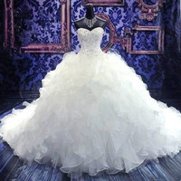 2017 Luxury Cathedral/Royal Train Ball Gown Wedding Dress 2016 Sweetheart Embroidery Beading Lace-up Organza Vestido De Noiva