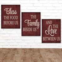 KITCHEN Wall Art Canvas or Prints Kitchen Quote Decor, Bless the Food, Family Love Between Us, Kitchen Pictures, Kitchen Artwork, Set of 3
